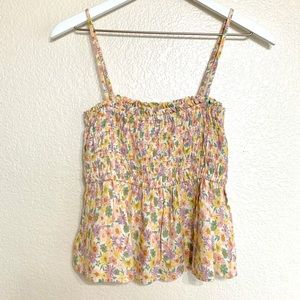 American Eagle Dainty Floral Smocked Babydoll Top